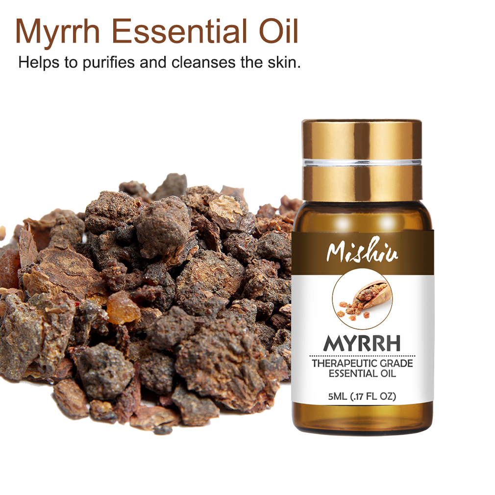 Mishiu 5ML Myrrh Essential Oil Helps To Purifies&Cleanses The Skin Essential Oil For Aromatherapy Diffusers Air Body Relieve