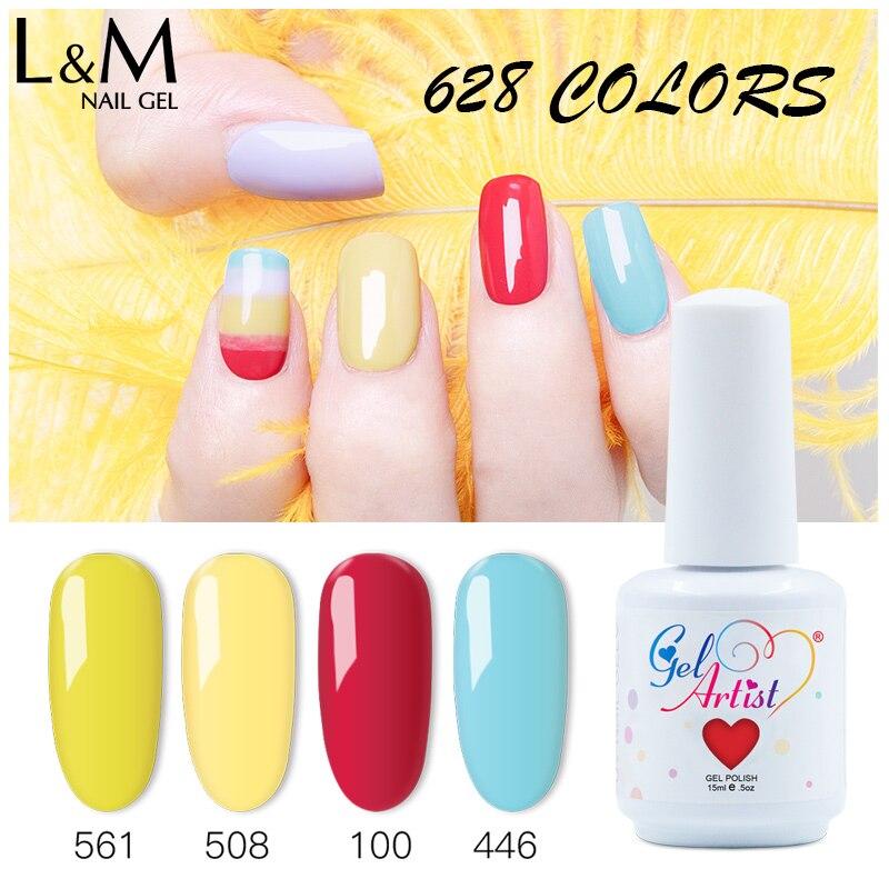 Esmalte de uñas Gelartist 48 uds, esmalte de uñas UV en gel eliminable en esmalte remojo 290 colores 15ml 0,5 oz (44 colores + 2top + 2 bases) Envío Gratis