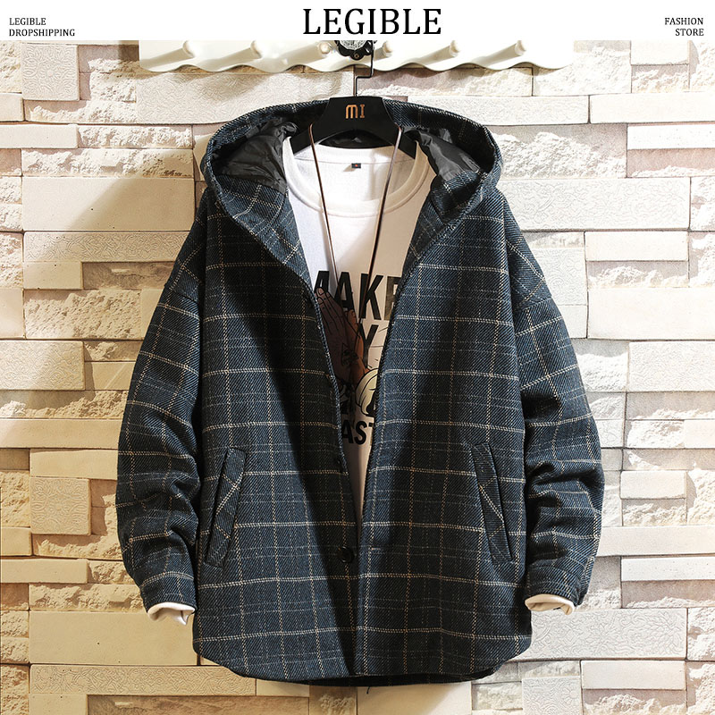 2019 Winter Jackets Mens Thick Plaid Windbreaker Jacket Male Autum Japanese Oversize Jacket Man Streetwear