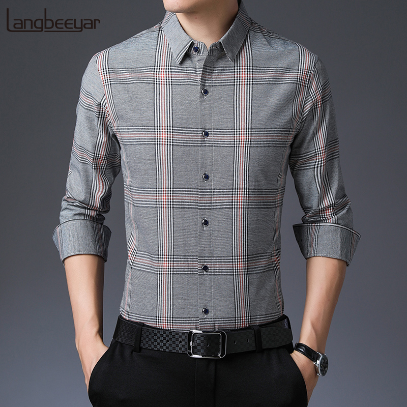 2019 Fall New 100% Cotton Fashion Brand Shirts Mens Plaid Slim Fit Street Wear Long Sleeve Collar Korean Casual Mens Clothing