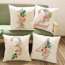 Número da sorte flor impresso fronhas decorativas para casa número rosa sofá almofada caso escritório simples decorat cojines