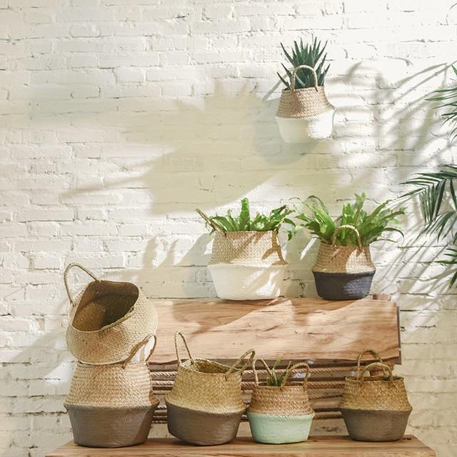 2021top home decor Seagrass Wicker Basket Wicker Basket Flower Pot Folding Basket Dirty Basket WH товары для дома 5
