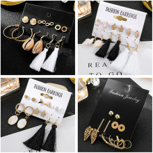 6Pairs/Lot Infinity Shell Crown Apple Leaf Round Long Tassel Stud Earrings Set For Women Mixed Gold Pearl Earring Ear Jewelry gold round leaf earrings