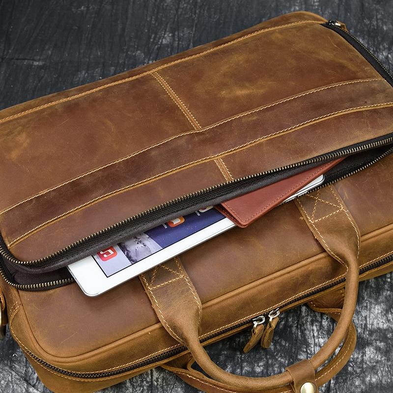 "MAHEU Men Briefcase Genuine Leather Laptop Bag 15.6"" PC Doctor Lawyer Computer Bag Cowhide Male Briefcase Cow Leather Men Bag"