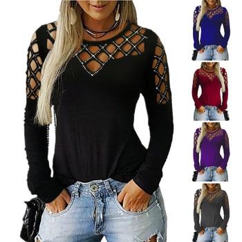 ¡Novedad de 2020! Camiseta de otoño/Invierno para mujer, perforadora de hierro con cuello redondo y manga larga, Jersey Sexy de calle de talla grande