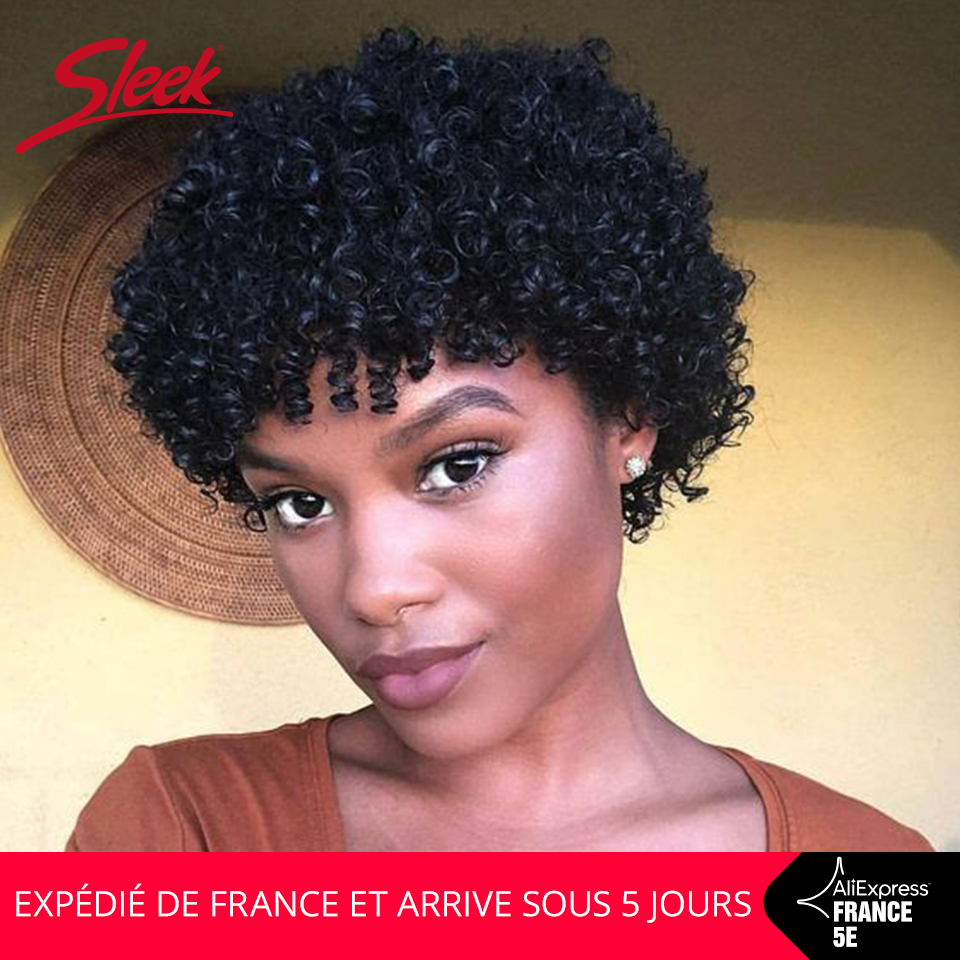 Sleek Perruque Cheveux Humain Courte  Afro Kinky Curly Wig 10 Inch Short Wigs 150% Density Natural Color Wigs In France Fast