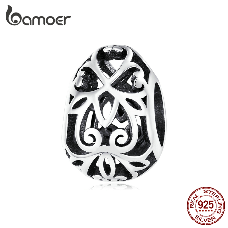 Bamoer Easter Series Authentic 925 Sterling Silver Engraved Vintage Egg Charm For Women Jewelry Making Charm Bracelet SCC1464