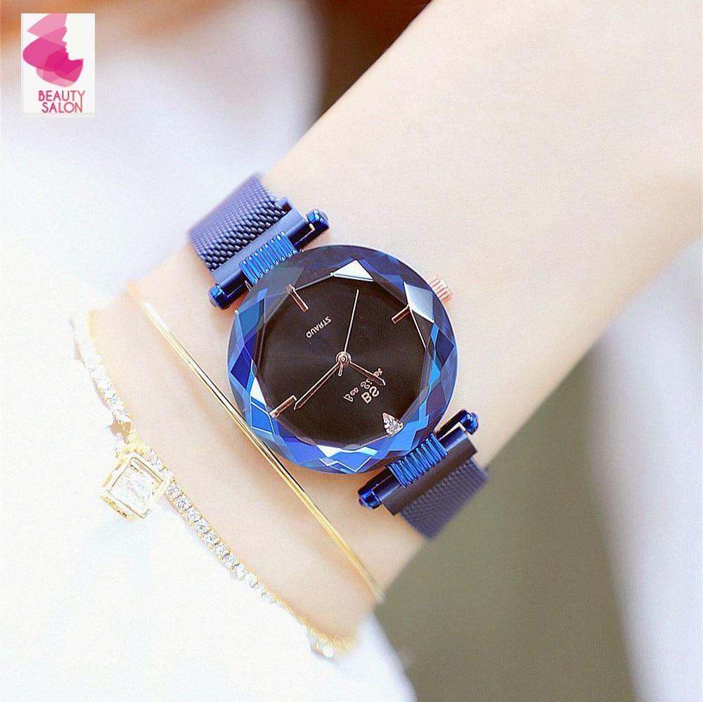 BS Bee Sister Women's Rhinestone Watches Lady's Crystal Wristwatches Magnet Steel Strap  Quartz Wristwatch Relogio (Purple,blue)