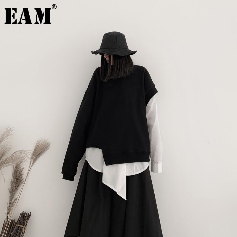 [EAM] Loose Fit  Black One  Shoulder Oversized Sweatshirt New Round Neck Women Big Size Fashion Spring Autumn 2020 19A-a557