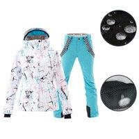 SMN Ski Suit Adult Women Winter Waterproof Breathable Warm Snowboard Jacket Bibs Pants Wind Resistant Outdoor Snowboard Suit