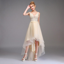 High-low Prom Dress A-line Sleeveless Double V-neck Lace Tulle Dress