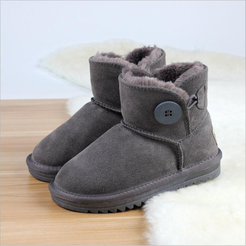 Children's Snow Shoes Non-slip Tendon Bottom  Big Children's Genuine  Leather Breathable Baby Shoes Snow Boots