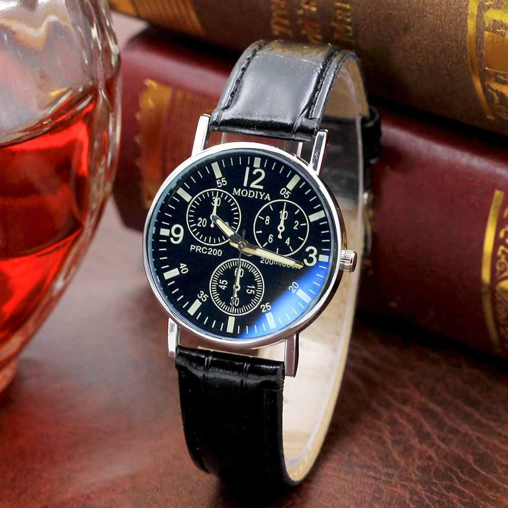 Jam Tangan Kuarsa Kasual Bisnis Watch Sederhana Fashion Spiral Crown Leather Belt Menonton Laki-laki Portable Hadiah Watch