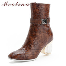 Meotina Mid-Calf Boots Women Shoes Zipper High Heel Shoes Crystal Strange Style Heels Buckle Boots Female Winter Brown Size 46