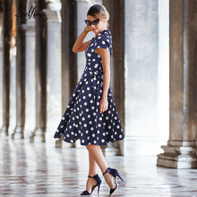 Elegant Polka Dot Vintage Dress A-Line V-Neck Sleeveless Knee-Length Women Dress Sexy Navy Blue Short Party Dress Robe Femme navy crew neck jacquard a line dress