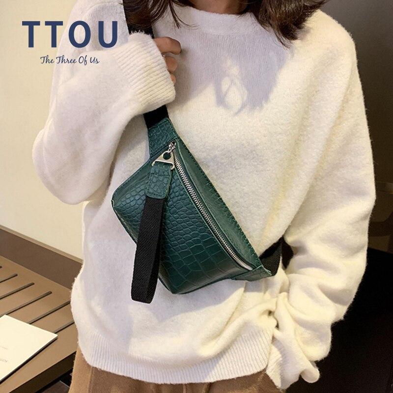 TTOU Women Bag Crocodile Multicolor Messenger Chest Bag Clutch Female Pu Leather Handbag Crossbody Belt Pouch Bag Fanny Pack
