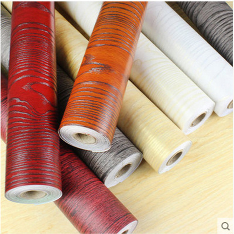 Thick Self-Adhesive Wallpaper Waterproof Boeing Film Chair Table Wardrobe Old Door Renovation Decoration Wood Grain Wallpaper Ad
