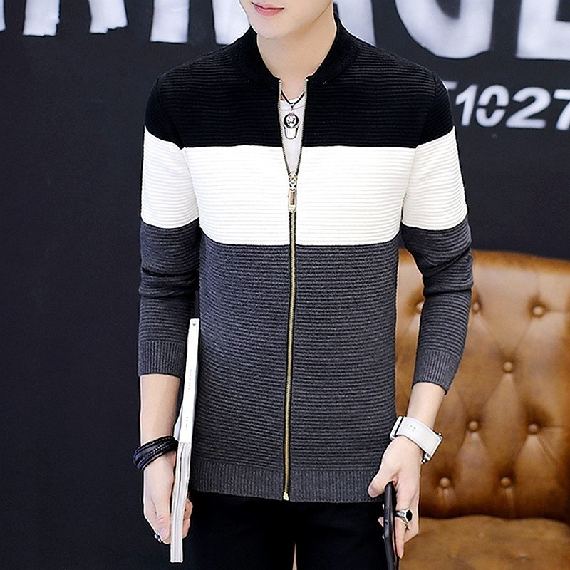 Men Knitting Jacket Spring Autumn Zipper Stand Collar Casual Cardigan Sweaters Outerwear Street Fashion Plaid Slim Sweater Male