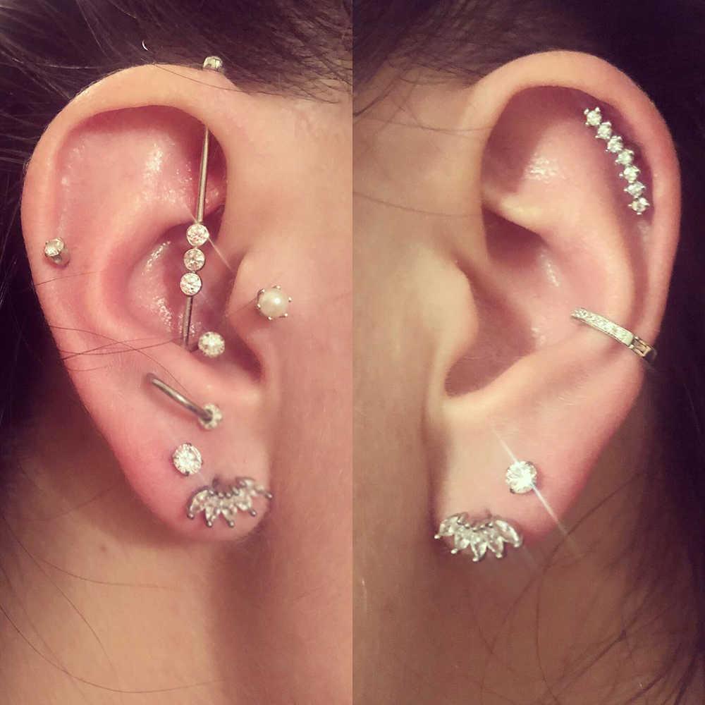 หู Tragus Conch Studs Piercing Helix คริสตัลโอปอล Lip Labret ปลั๊กเหล็ก Daith Earring เจาะจมูกกระดูกอ่อนแหวนเครื่องประดับ 16G