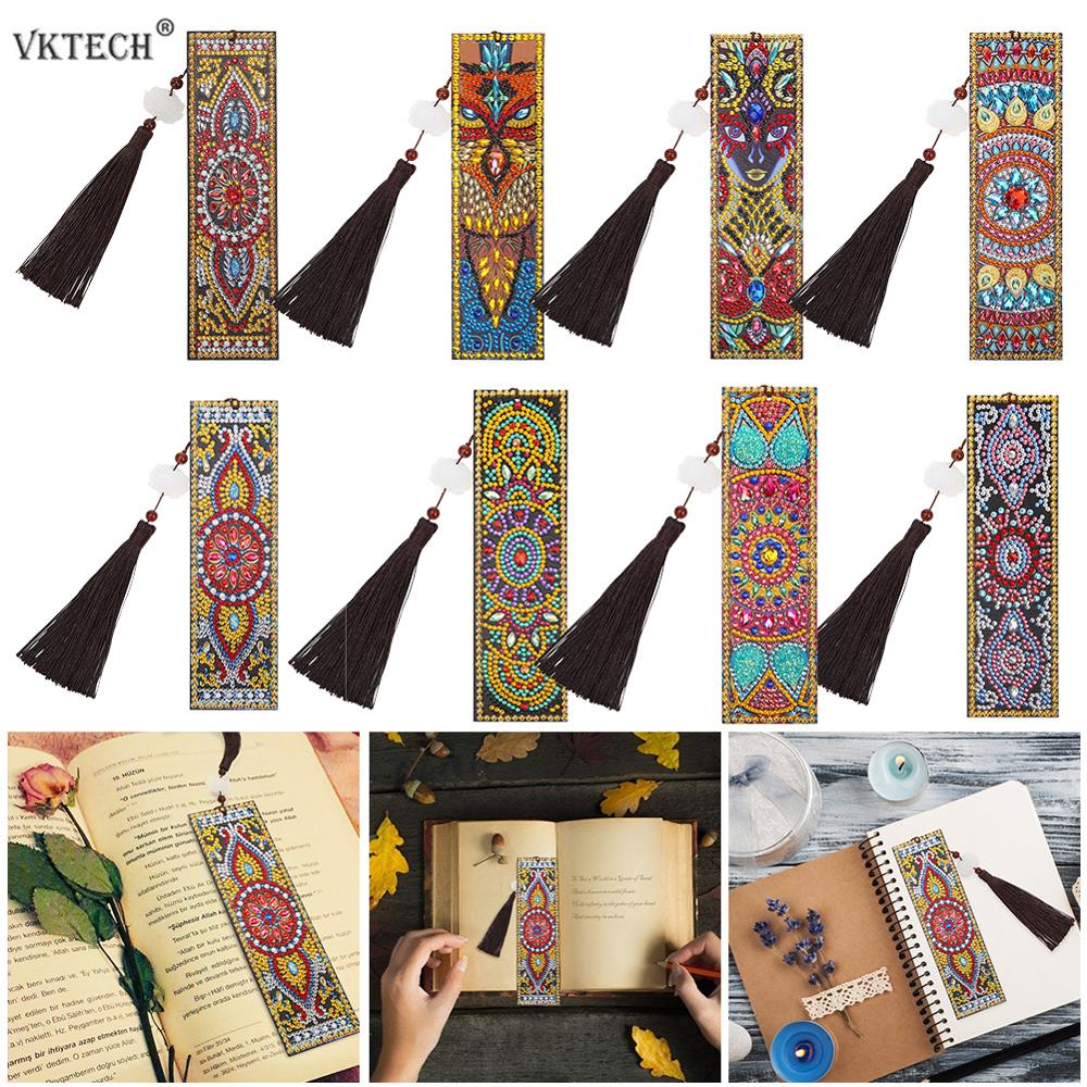 VKTECH DIY Special Shaped Diamond Painting Leather Bookmark With Tassel Book Marks Page Mark Christmas Gift For Kid Student