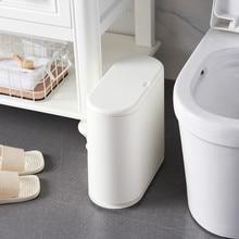 цена на Japanese Trash Can Push-type Spring Lid Sanitary Bucket Dustbin Living Room Bathroom Gap Plastic Trash Can Garbage Bag Holders