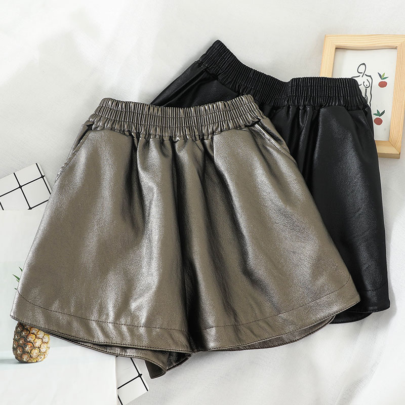 HELIAR Sexy PU Leather Shorts Women Shorts Night Club Outerwear High Waist Wide Leg Women SpringShorts For Women 2020 Spring