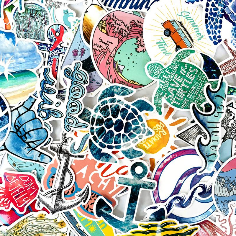 50pcs VSCO GIRL Stickers Sea Turtle Summer Surf Beach Decal Hydro Flask Sticker For Laptop Fridge Phone Skateboard Suitcase