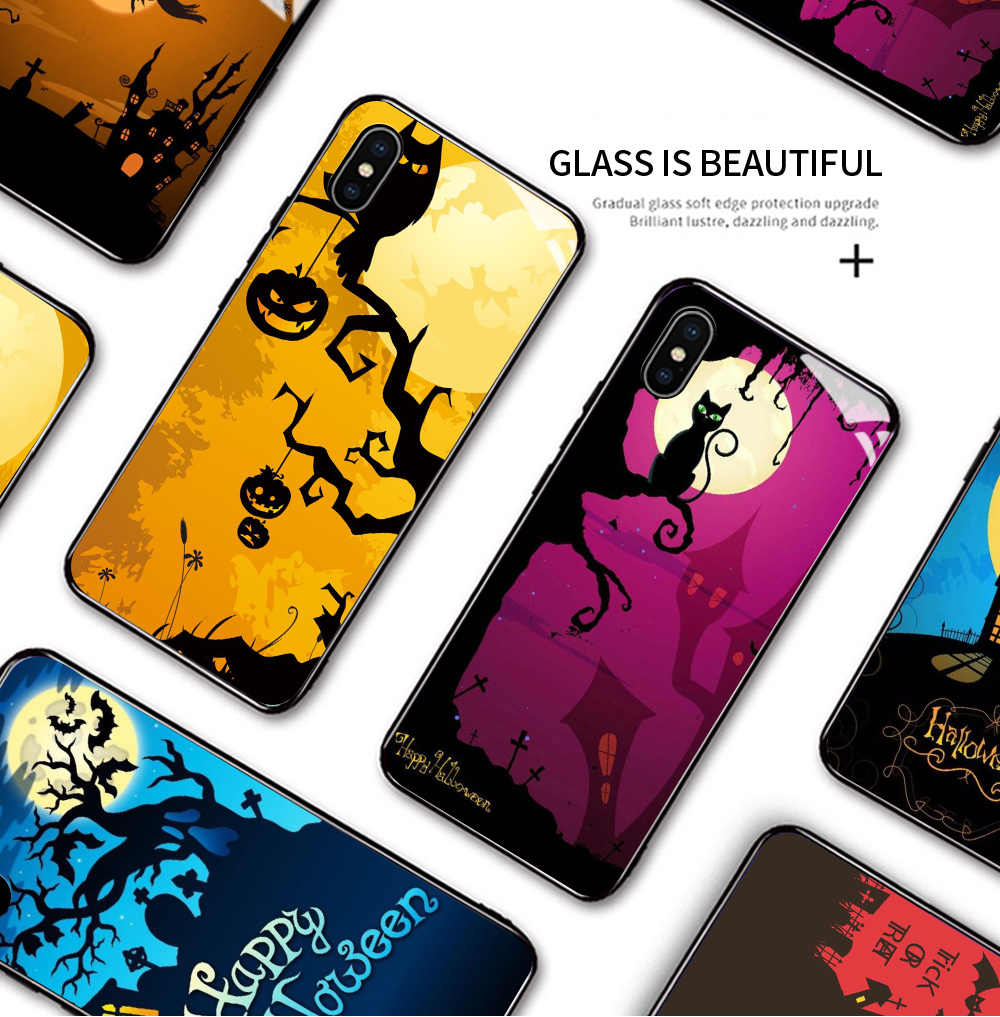 Dành Cho iPhone 6 6S 7 8 X XS XR 11 11 Max Pro Chống Sốc Halloween Điện Thoại Ốp Lưng Phù Thủy bát Kính Cường Lực Vỏ Bảo Vệ