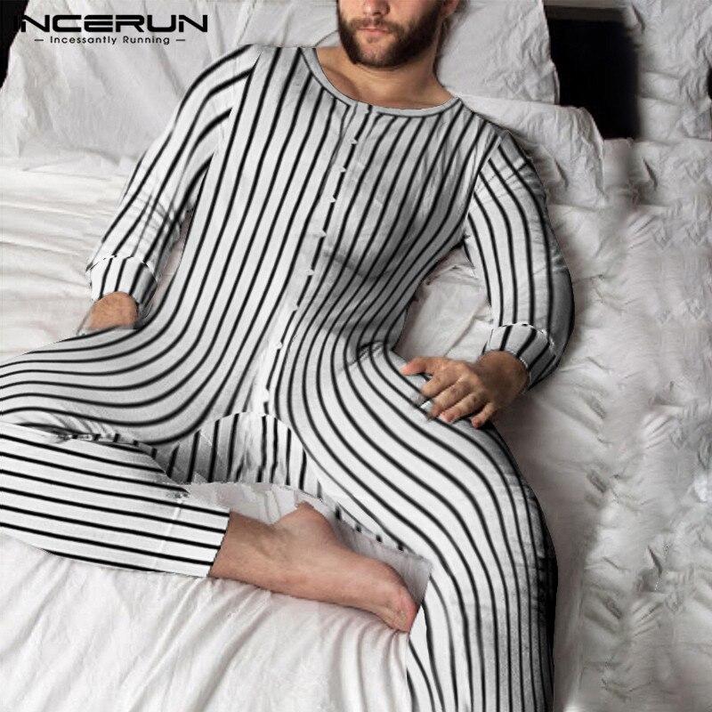 Männer Gestreiften Pyjamas Overalls Lange Sleeve Button Up Freizeit Homewear Strampler 2020 Komfortable O Neck Männer Nachtwäsche S-5XL INCERUN
