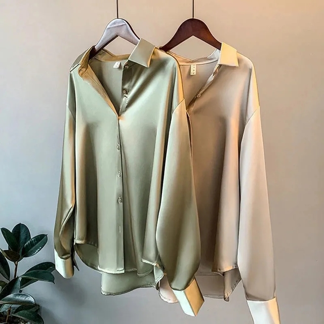 Primavera 2021 das mulheres roupas de seda camisa do vintage blusa feminina superior sheer vestido de manga comprida camisa plus size mulher overshirt 1
