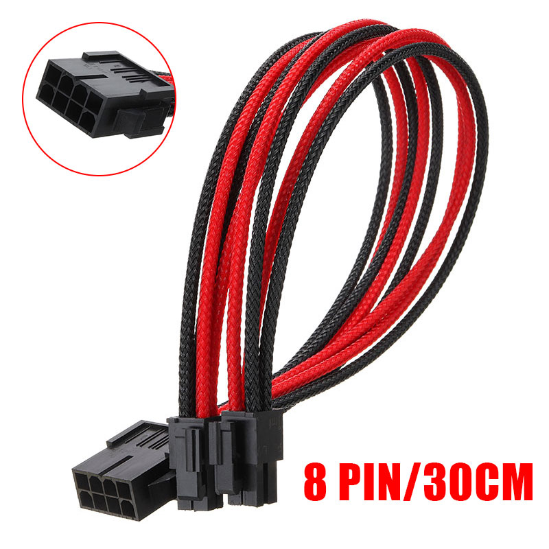 Sleeved Graphics Card ATX EPS PSU CPU 8 Pin To 4+4 Pin PCI-E Power Extension Cable Wire For 18AWG Power Wire Sleeved 30cm