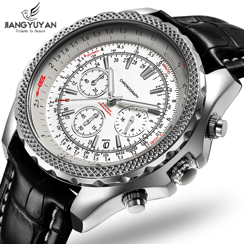 TOP Brand 2020 Earth Series Multifunction Sports Men Watch Chronograph 6 Hands 24 hours Fashion Casual Genuine Leather Watch Men