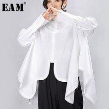 [EAM] femmes plissée grande taille Blouse irrégulière nouveau revers à manches longues coupe ample chemise mode marée printemps automne 2021 1A332
