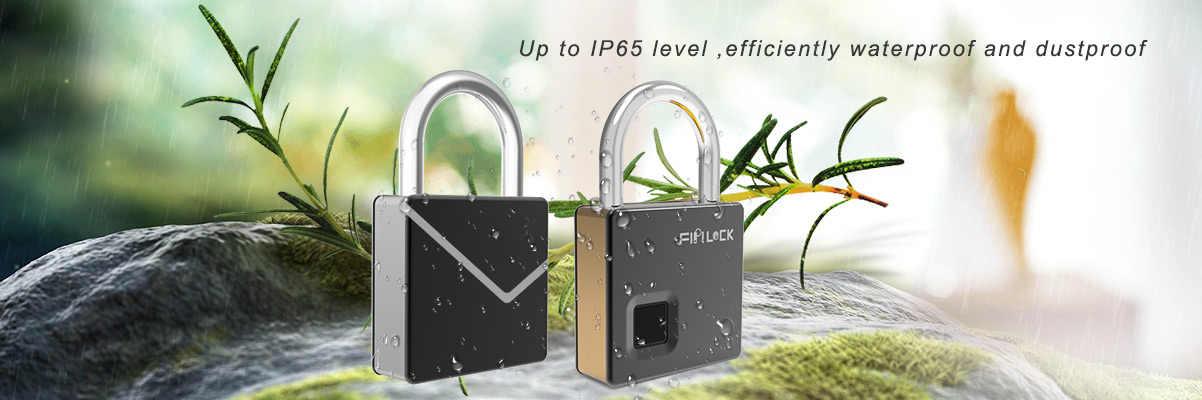 IP65 étanche antivol cadenas de sécurité serrure intelligente sans clé serrure d'empreintes digitales serrure de fixation rétractable et mécanisme d'attache de sécurité de porte avec clé et câble