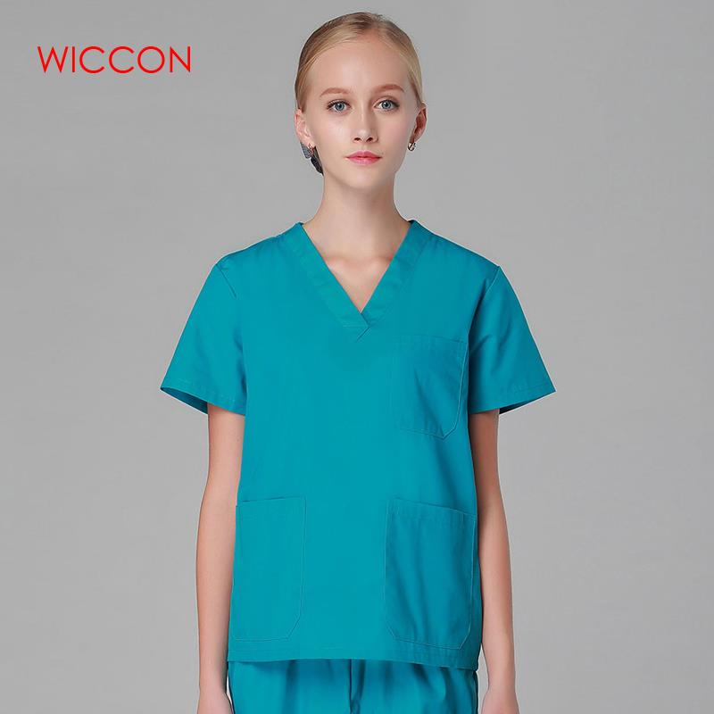 WICCON 2020 New Fashion Short Sleeved Women Suits Surgical Gowns Clothes Brush Hand Clothes Nurse Doctor Cotton Solid Unitform