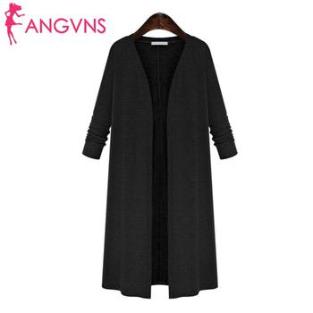 New Fashion Women Casual V-Neck Front Open Calf Length Solid Knitted Long Sleeve Cardigan None фото