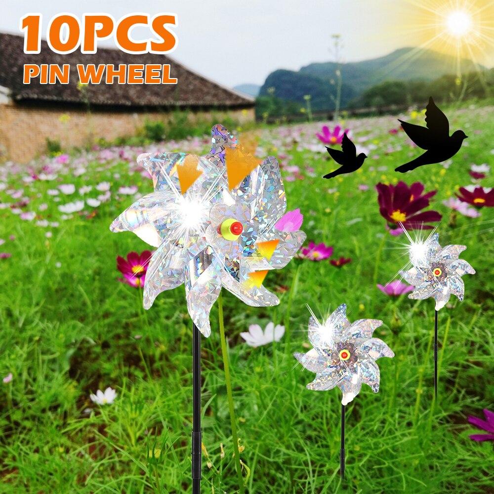 10pcs Bird Repeller Pinwheel Drive Away Birds Sparkly Spinner Bird Deterrant Protect Garden Plant Crops Flower Yard Decoration