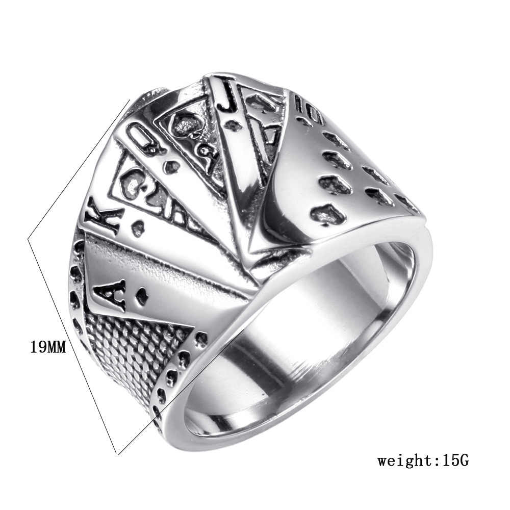 Qmhje poker titânio aço anel masculino prata reta flush sorte jóias punk rock masculino biker banda hip hop anéis selo do vintage