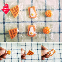 6/12Pcs Cute Toast Pizza Burger Resin Anting-Anting Pesona Transparan Tas Kawaii Gantungan Kunci Kalung Liontin Perhiasan Cetakan membuat(China)