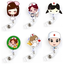 1pc Cute Cartoon nurses doctors Retractable Badge Reel Students Exhibition Pull Key ID Name Card Badge Holder School Supplies