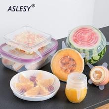 6 Pcs/ Set Universal Food Silicone Cover Reusable Seal Transparent Stretch Lids Caps for Cookware Pot Kitchen Accessories
