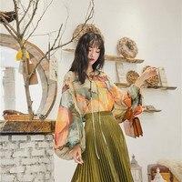 New Design Fashion Shirts Women High Street Chiffon Floral Printing Fairy Blouses Female Korean Chic Lantern Sleeve Vintage Tops