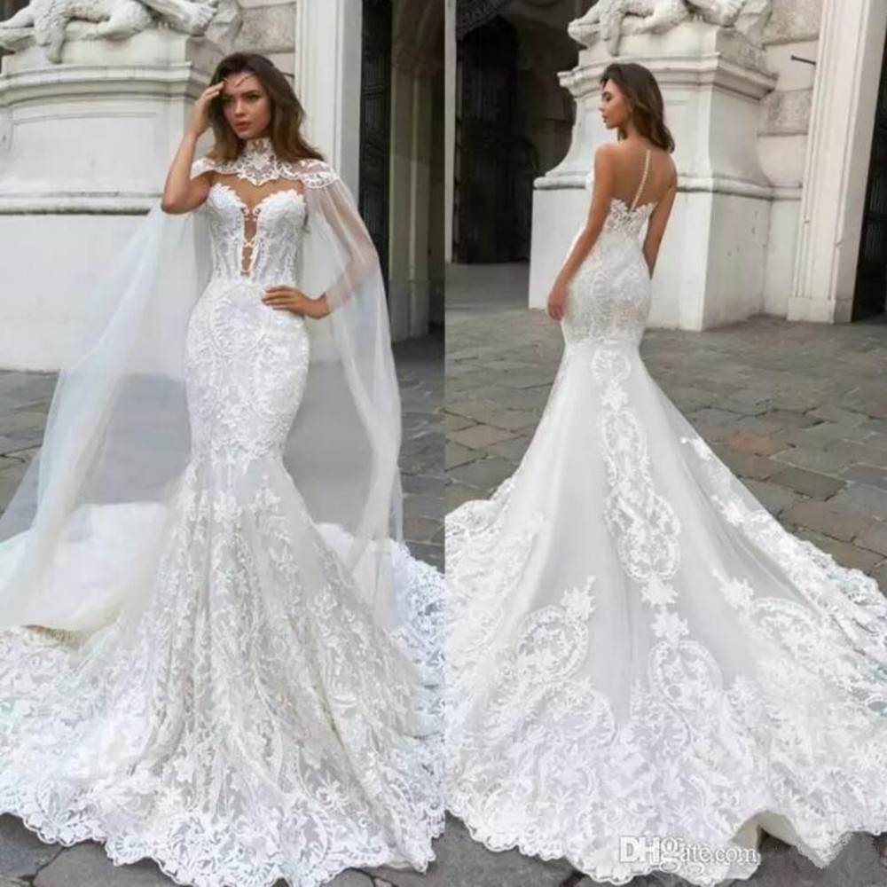 Mermaid Wedding Dresses With Cape Sheer Plunging Neck Bohemian Wedding Dress Lace Appliqued Bridal Gowns Vestidos De Novia