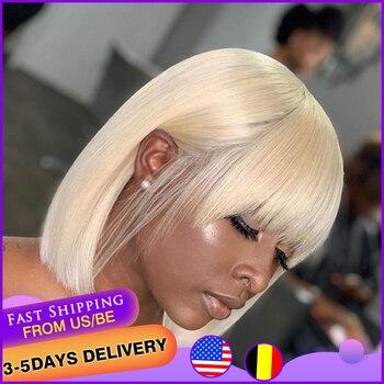BEAUDIVA 613 Blonde Pixie Cut Bob Wig Brazilian Straight Hair Short Human Hair Wigs With Bang For Women Fringe Human Hair Wigs short capless side bang straight human hair wig