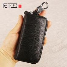Кожаный чехол для ключей aetoo мужчин винтажный кожаный ручной