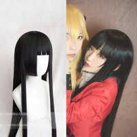 Mädchen Frauen Anime Cosplay Perücke Kakegurui Yumeko Jabami Enma Ai Schwarz Gerade Haar Akiyama Mio Perücken Roleplay Bühne Party Kostüme