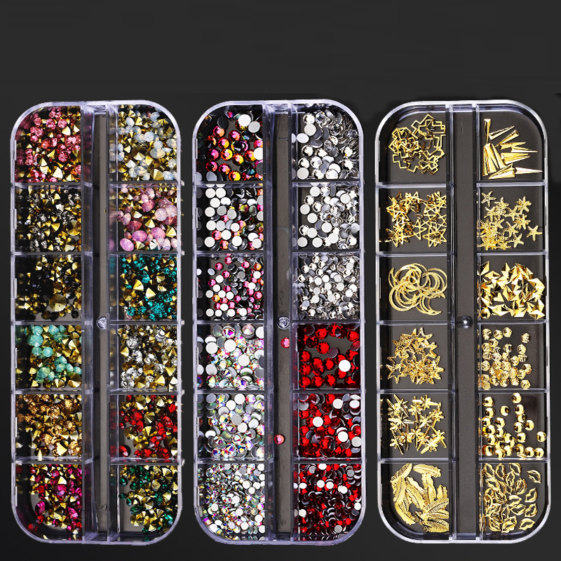 1 коробка Mulit-дизайн ногтей Стразы шпильки для ногтей, мульти-формы 3D кристалл AB прозрачные камни для ногтей драгоценные камни для дизайна но...