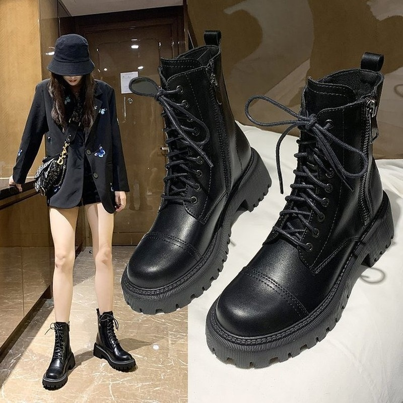 2020 Autumn Fashion Trend Martin Boots Women British Style Thick Bottom Increased Short Boots Black Motorcycle Boots Motorcycle|Mid-Calf Boots|   - AliExpress