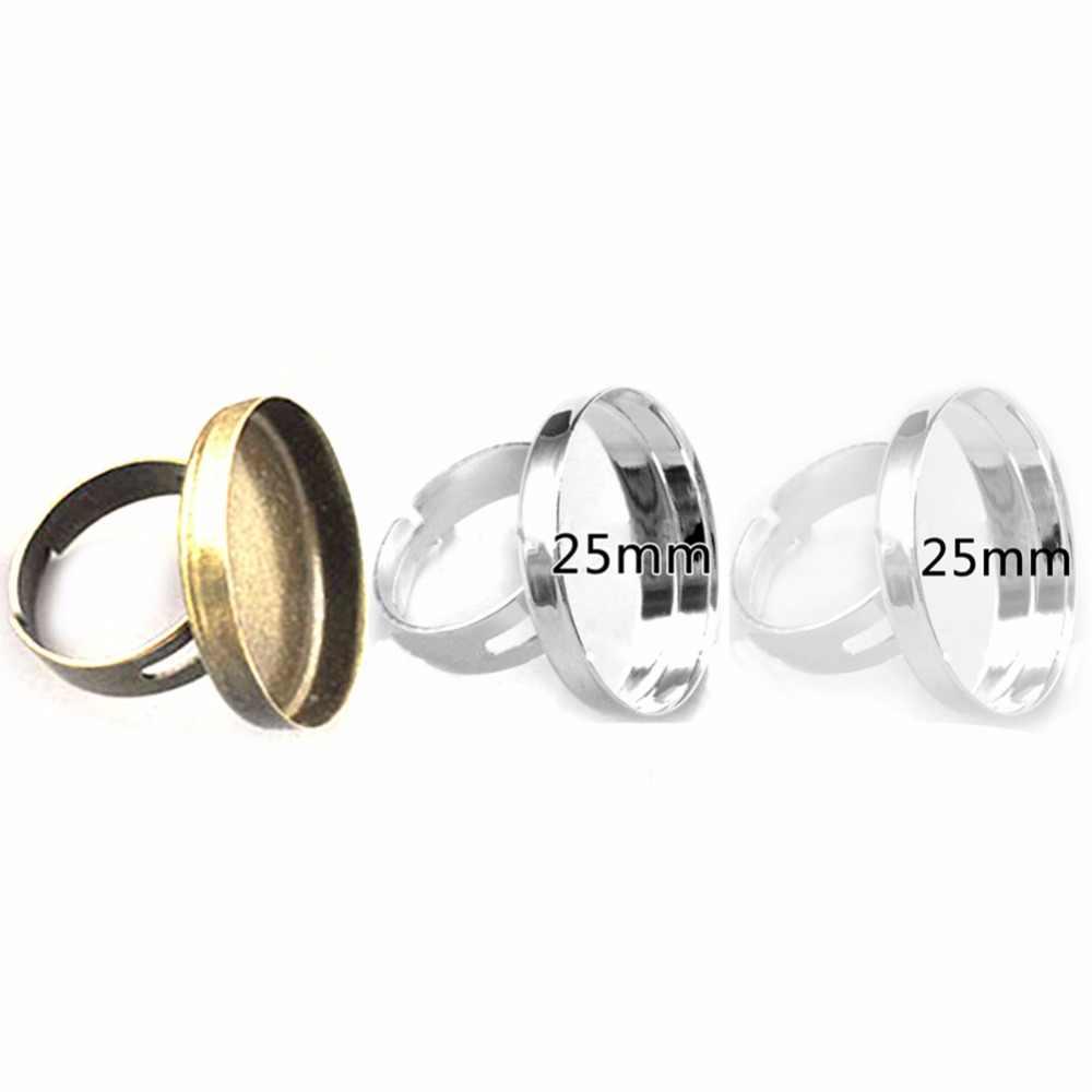 20pcs Fit 25mm Cabochão De Vidro Plano Base de Ajustes do Anel de Dedo Em Branco Bandeja Almofada Redonda Ajustável