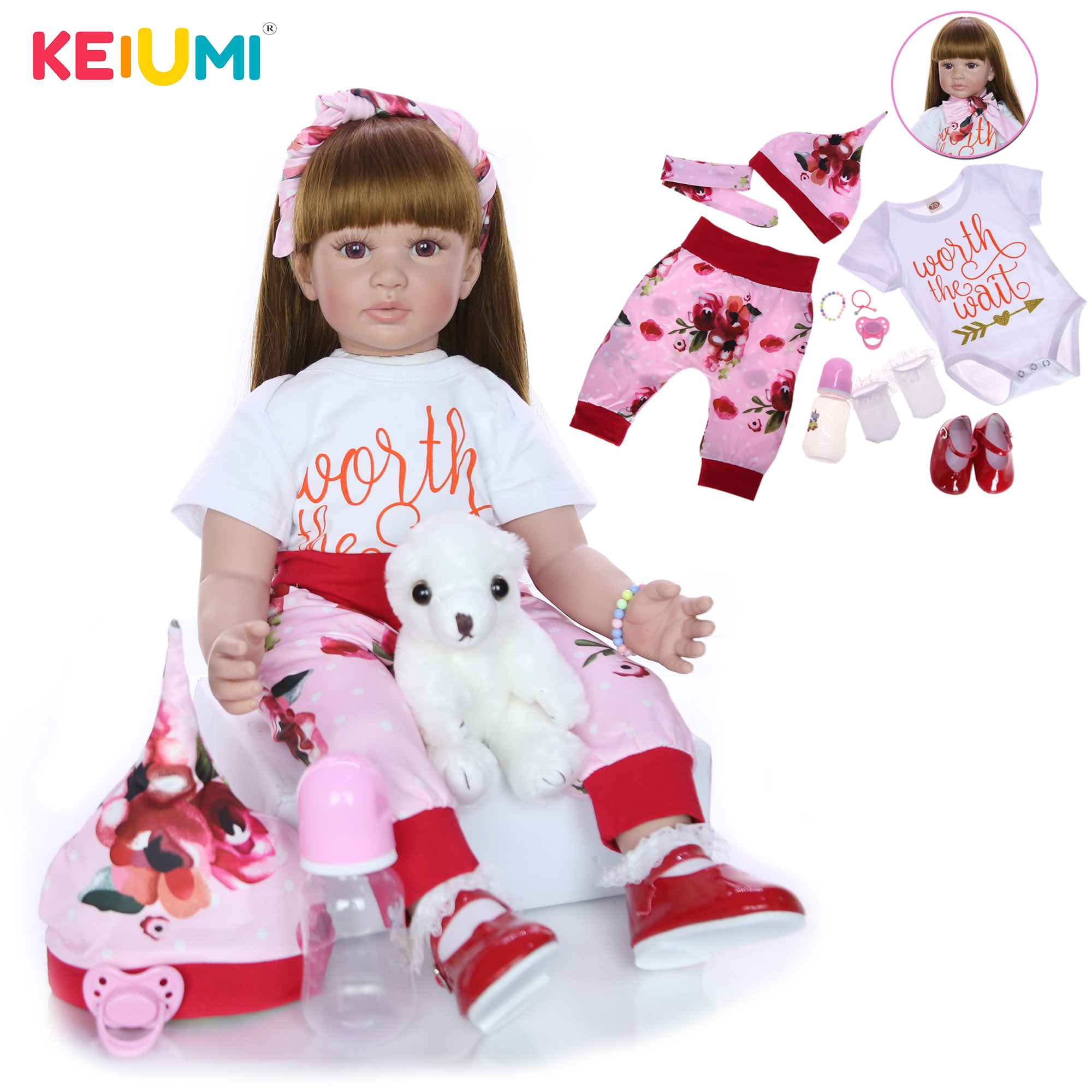 "NPK collection Lifelike 24/"" Soft Cloth Body Silicone Reborn Babies 60cm Princess"